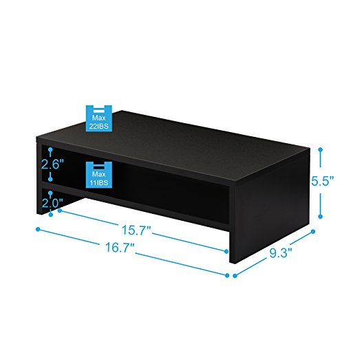 FITUEYES Computer Monitor Stand TV Shelf Risers 16.7 inch 2 Tiers Monitor Stand Save Space Black by FITUEYES (Image #2)
