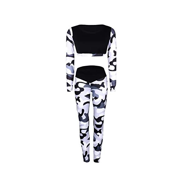 Ensemble Sport Yoga Femme Manches Longues Imprimé Fleuri Crop Top et Pantalon Elastique Legging et Haut Gym Tenue 2 Pièce Casual Sportwear Dancewear Vêtement de Fitness Jogging Athletisme Tracksuit accessoires de fitness [tag]