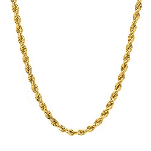 Verona Jewelers Gold Plated Stainless Steel 2-4MM Diamond Cut Twisted Style Rope Chain-Braided Chain (4mm Gold Plated, 20) Diamond Cut Twisted Rope