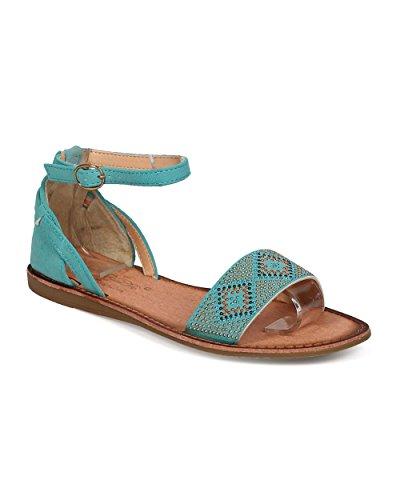 Studded Ankle Cuff (Bohemian Women Leatherette Open Toe Boho Studded Ankle Cuff Flat Sandal - Blue (Size: 8.0))