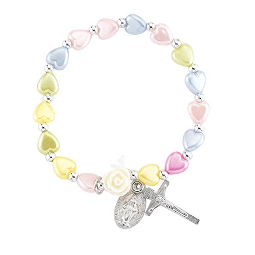 Crucifix Heart Bracelet - Multi-Color Glass Heart Bead Bracelet with Silver Tone Crucifix and Miraculous Medal, 5 1/2 Inch