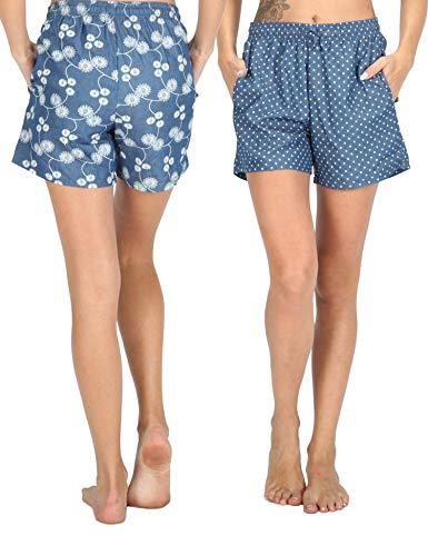 WEWINK CUKOO Soft Denim Cotton Women Pajama Capri Lounge Pants with Pockets (Flower + Dots Shorts, M=US 8-10) ()
