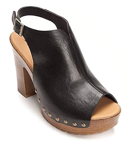4e368c9acfa2e KORKS Womens Anja Heeled Platform Sandals Leather Black (7.0)