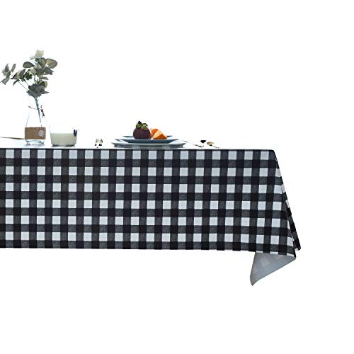 Sancua PVC Tablecloth Spill-Proof Stain Resistant Wipe-Clean Pattern Dining Table Cloth Heavy Duty Vinyl Scratch Resistant Anti-Slip Durable Reused Rectangle Table Cover(54x108,Black -