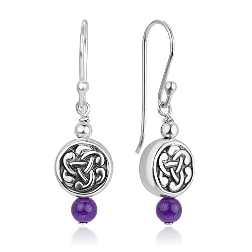 925 Sterling Silver Celtic Tuim Knot Dangling Amethyst Gemstone Round Dangle Hook Earrings 1.3