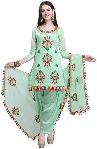 EthnicJunction Women's Chanderi Cotton Embroidered Unstiched Dress Material