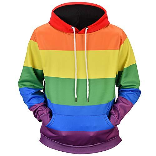 iLUGU Mens 3D Printed Rainbow Pullover Long Sleeve