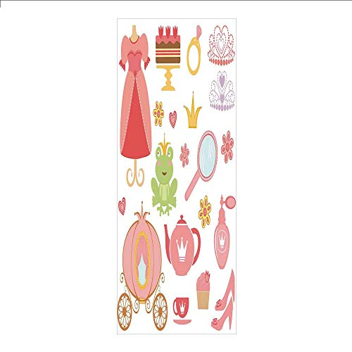 3D Decorative Film Privacy Window Film No Glue,Kids Decor,Princess Tiara Tea Party Mirror Teapot Tea Party Frog Crown Fairy Cupcake Girls Decorative,for Home&Office - Mirror Hello Kitty Princess