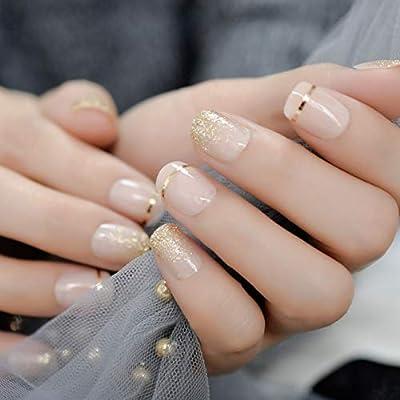 QSDFG Twinkling Glitter Uñas Artificiales Fabulosas Puntas de uñas ...