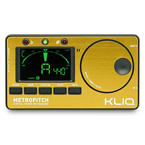 KLIQ MetroPitch - Metronome Tuner for All Instruments - with Guitar, Bass, Violin, Ukulele, and Chromatic Tuning Modes - Tone Generator - Carrying Pouch Included, Gold from KLIQ Music Gear