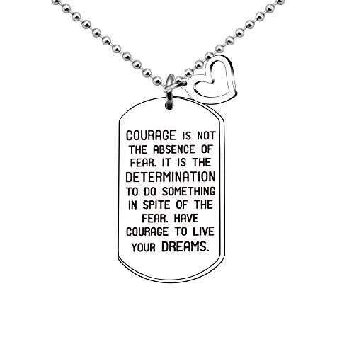 CAROMAY Pendant Necklace Courage Inspirational Graduation 2019 Gift Son Daughter Engraved Dog Tag Spiritual Necklace for Men - Courage Pendant Engraved