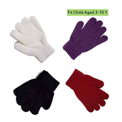 White Stretchy Cotton Gloves (Assorted Kids Soft Cotton Kitted Stretchy Gloves Solid Colors White Puple Red Black Pack of 4 ( 3 to 10 Y))