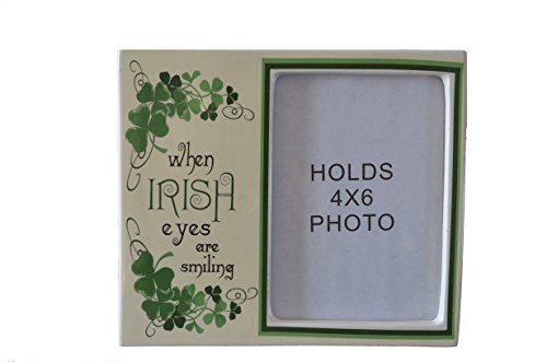 (When Irish Eyes Are Smiling 4 X 6 (snap shot display area) Ceramic Photo Table Top Display Frame with Glass and Green Shamrocks and Clovers)