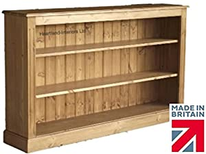 Low Pine Bookcase Ft Wide Handcrafted  Waxed Bookshelves - Wide bookshelves