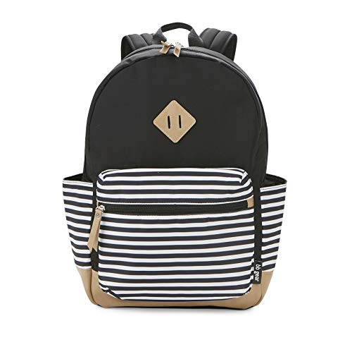 BB Gear Diaper Bag Backpack - Lightweight, Roomy, and Stylish Bookbag - Simple Black and White Stripe Design