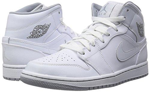 Nike Heren Air Jordan 1 Mid Basketbalschoen Wit