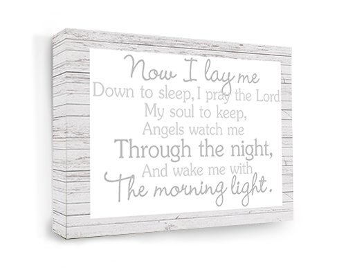 Framed Canvas art Now I lay me down to sleep I pray the Lord my soul to keep Angels watch me through the night And wake me with the morning - Angel Plaque Night