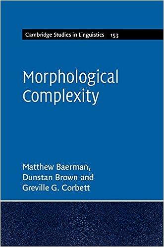 Morphological Complexity (Cambridge Studies in Linguistics)