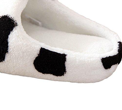 Nanxson(TM) Women/ Kids Warm Fleece Cow Pattern Slipper TX0006 White Ov90s