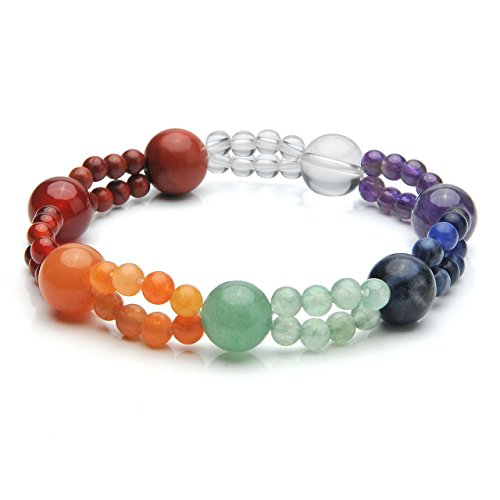 Top Plaza 7 Chakra Reiki Healing Crystals Natural Gemstones Handmade Stretch Bracelet,4MM Double Layer Semi Precious Stone Beads Elastic Bracelet For Yoga Meditation Balance