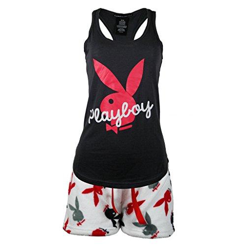 Playboy Sleepwear Womens Racer Back Top and Fleece Shorts Set Medium Black/Red