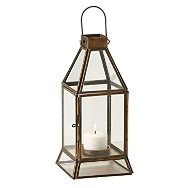 Brass And Glass Tea Light Candle Lantern