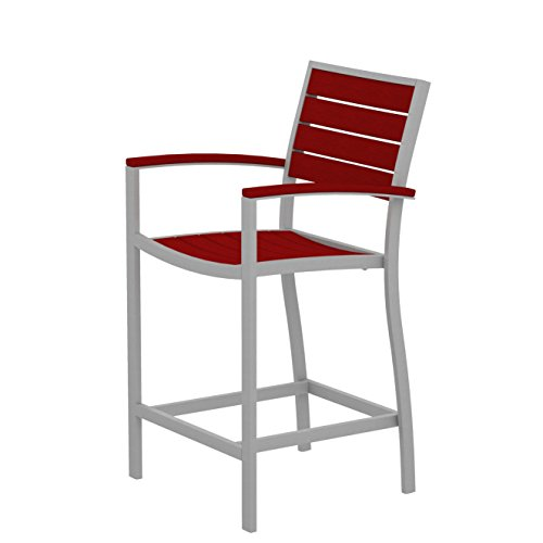 POLYWOOD A201FASSR Euro Counter Arm Chair, Textured Silver/Sunset Red