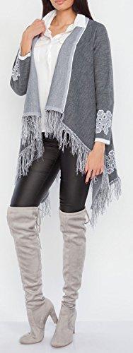 Glamour Empire. Para Mujer Cárdigan Flecos de Punto Cascada Copos de Nieve. 483 Grafito Mezcla