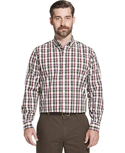 Arrow 1851 Men's Hamilton Poplins Long Sleeve Button Down Plaid Shirt, Rosin, Large