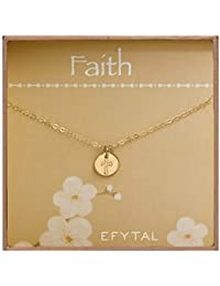 Tiny Gold Filled Faith Cross Necklace, Small Simple Dainty Disc Pendant, First Communion Gift for Girls and Women