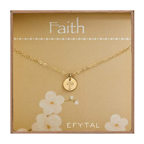 EFYTAL Tiny Gold Filled Faith Cross Necklace, Small Simple Dainty Disc Pendant, First Communion Gift for Girls and -