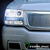 yukon denali fog lights xenon - Topline Autopart 8000K Hid Xenon + Chrome Halo Projector Headlights With Bumper Lights Amber Dy 1999-2007 GMC Sierra/Yukon
