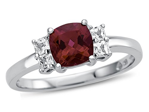 Finejewelers 6x6mm Cushion Created Ruby and White Topaz Ring 10 kt White Gold Size ()