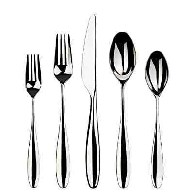 Gourmet Settings Willow 20-Piece Stainless Steel Flatware Set, 4 and 5-Piece Place Settings - 20-Piece Set Stainless Steel Soft and fluid - kitchen-tabletop, kitchen-dining-room, flatware - 415igokStSL. SS400  -