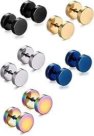 Premuim Titanium Steel Stud Earrings 5 Pairs Men Women Polished Ear Barbell Non allergenic No Rust Not Fear Wa