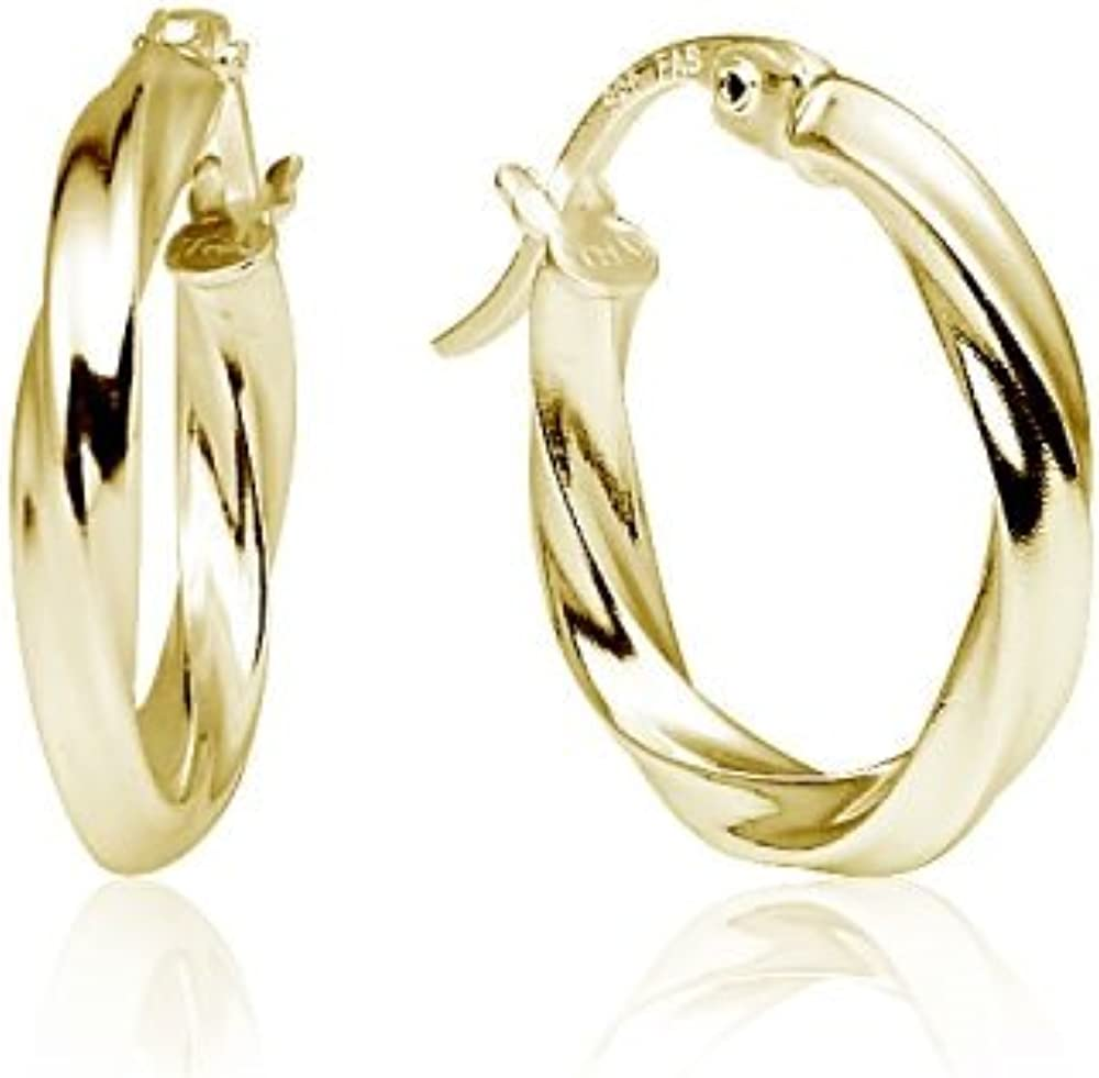 Gold Tone over Silver 3mm Twisted High Polished Round Hoop Earrings 20mm