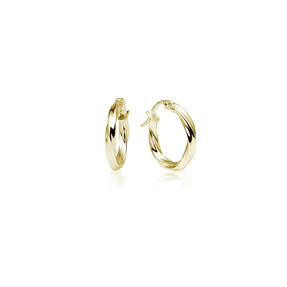 LOVVE Yellow Gold Flashed Sterling Silver High Polished Twist Round Click-Top Hoop Earrings, 2x15mm