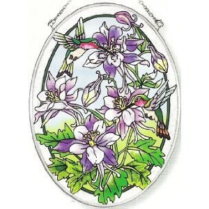 Amia 5905 Medium Oval Suncatcher with Hummingbird and Columbine Design, Hand-painted Glass, 5-1/2-Inch W by 7-Inch L