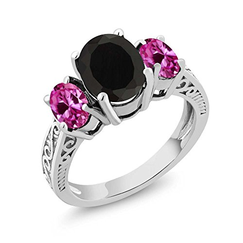 (Gem Stone King Sterling Silver Black Onyx & Pink Created Sapphire Women's 3-Stone Ring 2.83 cttw (Size 5))