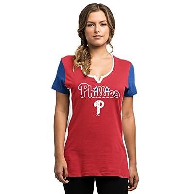 MLB Women's Time To Shine Rhinestone V-Neck T-shirt (Xlarge, Philadelphia Phillies)