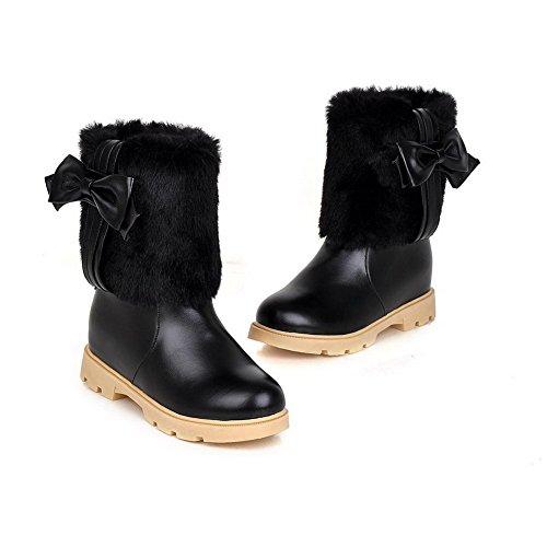 Kitten AgooLar Low Women's Pull on Boots Heels Soft Black Closed Round Material top Toe xT8vxrqU