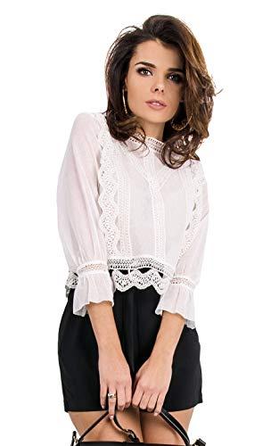Ls true Bianco Twht Zelda xs Top Blusa Xsmall taglia Guess Produttore Donna A000 White Rf6nfY