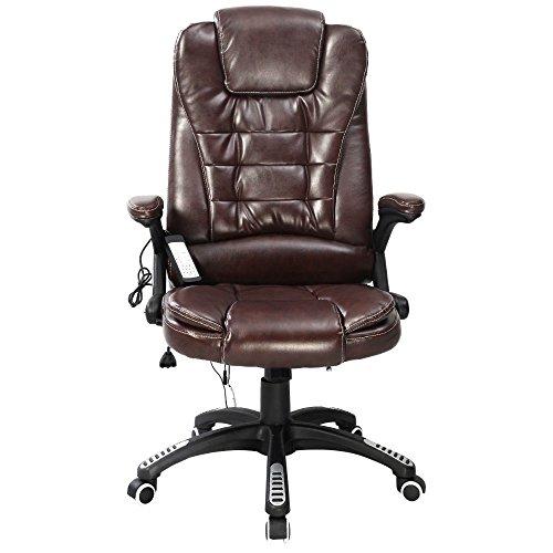 Brown Executive Ergonomic Computer Desk Massage Chair Vibrating Home Office New