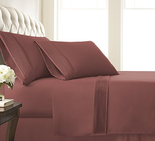 Terra Linen Cotta (Southshore Fine Linens - Vilano Springs - 4 Piece - Extra Deep Pocket Pleated Sheet Set , KING , Marsala (Terra Cotta))