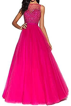 Folobe Sequin A Line Prom Dress Long Back V Neck Evening Gown for Women