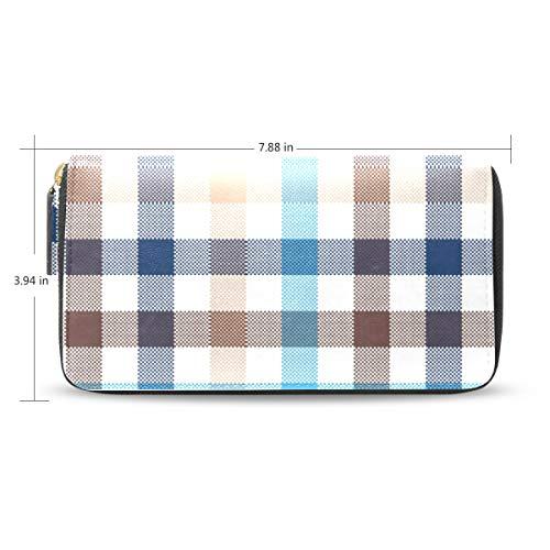 Women Blue Beige Plaid Vector Leather Wallet Large Capacity Zipper Travel Wristlet Bags Clutch Cellphone Bag