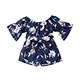 NUWFOR Infant Toddler Baby Girls Off Shoulder Floral Print Bow Romper Jumpsuit Outfits (Navy,2-3 Years)