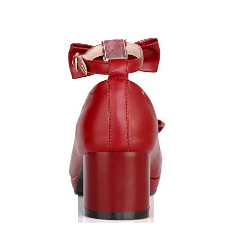 AllhqFashion Damen Mittler Absatz Rein Schnalle Weiches Material Rund Zehe Pumps Schuhe Rot
