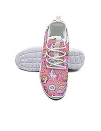 ERSER Pink Ice Cream Donut Unicorn Rainbow Woman Running Shoes Wide Feet