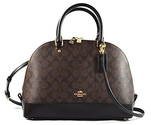 Coach Signature Satchel (Coach Sierra Satchel Signature Coated Canvas handbag Brown/Black)